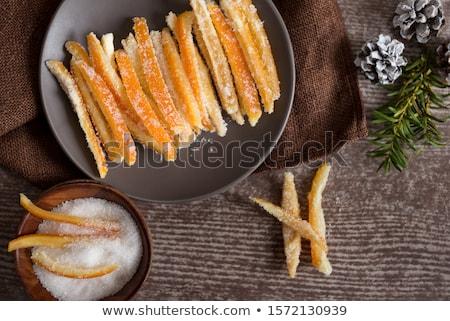 geglaceerd · citrus · schil · metaal · lepel · witte · achtergrond - stockfoto © Digifoodstock