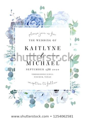 Wedding invitation blue floral Stock photo © Irisangel