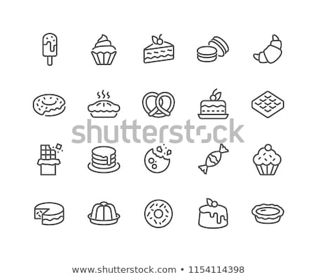 dessert and sweet pastry line icons set stock photo © voysla