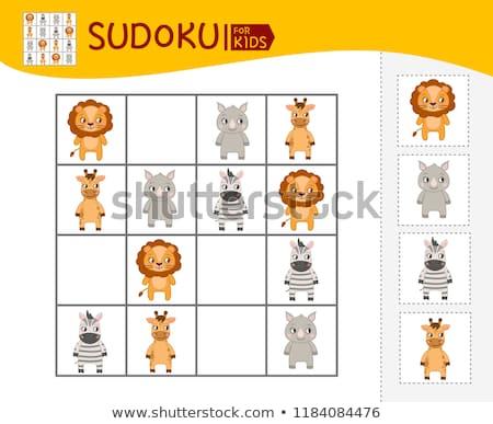 легкий головоломки животные детей красочный иконки Сток-фото © adrian_n