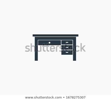 Wooden desk with drawers vector illustration. Stock photo © RAStudio