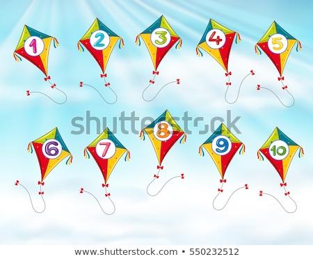 Papírsárkány legelső tíz illusztráció háttér művészet Stock fotó © bluering