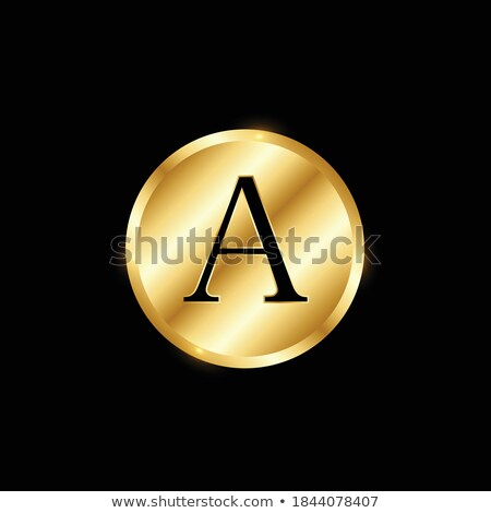 golden and black round alphabet letter i 3d stock photo © djmilic