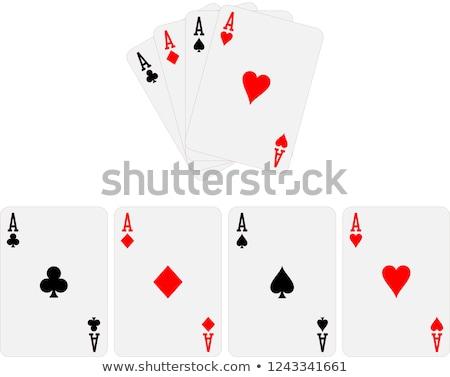 Négy ászok póker kártya illusztráció szív Stock fotó © SArts