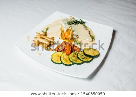 Салат рыбы белый пластина зеленый Сток-фото © Yatsenko