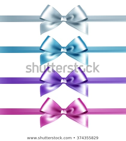 set of isolated pink white and blue photorealistic silk bows for your holiday design stock photo © fresh_5265954