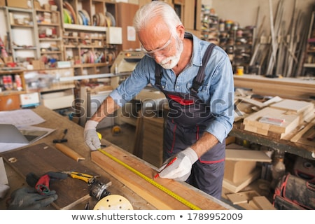 Stockfoto: Timmerman · klusjesman · potlood · plank · houtwerk