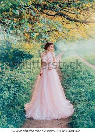 Piękna kobieta niebieski sukienka bajki lasu moda Zdjęcia stock © artfotodima