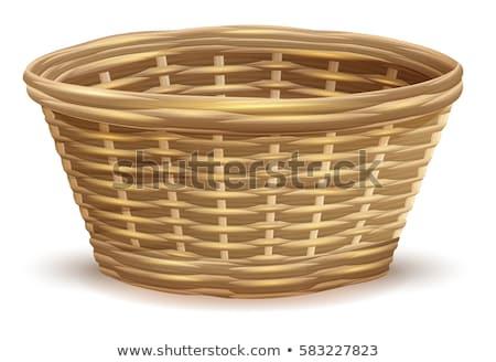 brązowy · wiklina · pusty · róg · obfitości · koszyka · odizolowany - zdjęcia stock © orensila