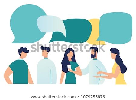 Personas hablar chat social negocios portátil Foto stock © alphaspirit