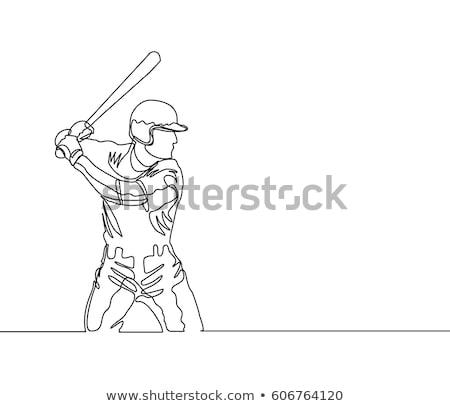 Baseball Player Hitting A Homerun Drawing Stock photo © patrimonio