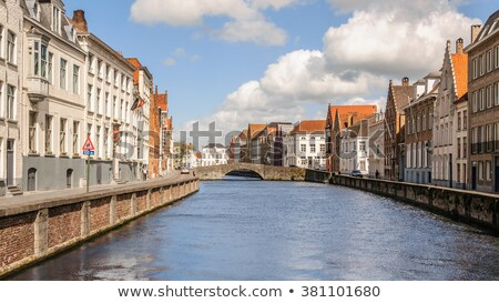 red door and window at water canalpanoramic view stock photo © artjazz