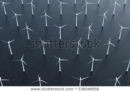 Felső kilátás modern szélmalom légi fölött Stock fotó © dash
