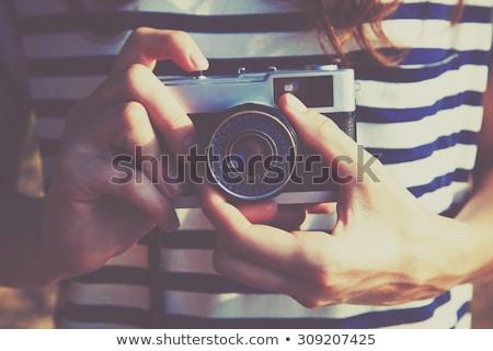 Lány elvesz fotó kamera fiatal lány ül Stock fotó © LightFieldStudios