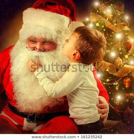 Kerstman weinig jongen brief wensen christmas Stockfoto © derocz