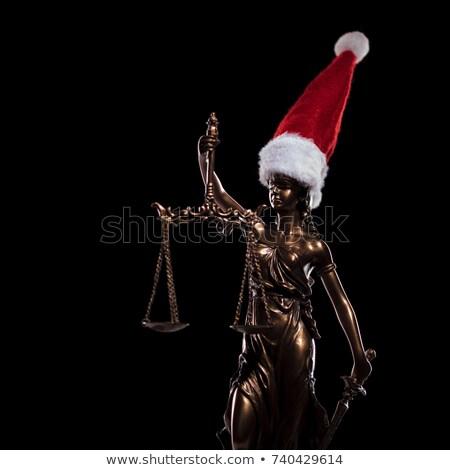 Bogini sprawiedliwości Święty mikołaj hat posąg Zdjęcia stock © feedough