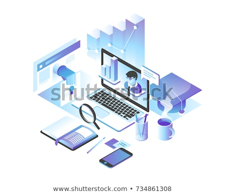 set of flat monitors in 3d vector illustration stock photo © kup1984