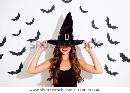 изображение хитрый улыбающаяся женщина Хэллоуин костюм Сток-фото © deandrobot