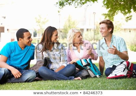 Teen group sitting on grass, talking Stock photo © IS2