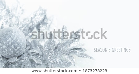 Stock photo: merry christmas festival greeting with silver ball and leaves