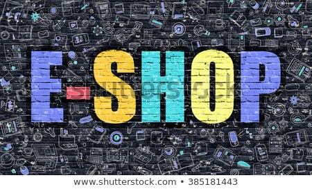 e shop in multicolor doodle design stock photo © tashatuvango