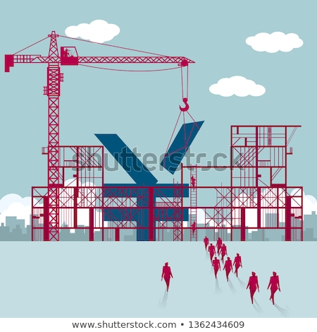 Stock photo: Building under construction with crane, making money
