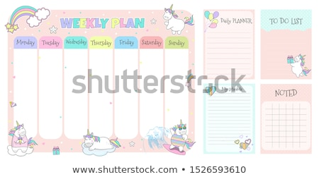 Stockfoto: School · schema · week · kinderen · vector · sjabloon