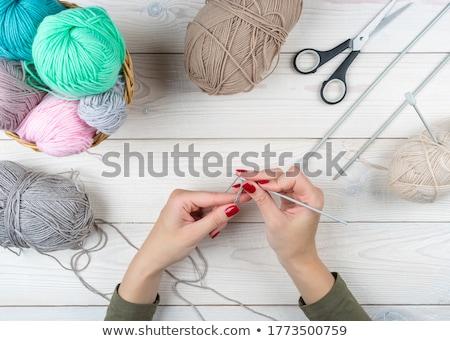 Nő kiválaszt köt tűk padló minta Stock fotó © IS2