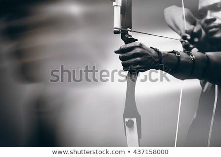 Atléta gyakorol íjászat hátsó nézet stadion sportok Stock fotó © wavebreak_media