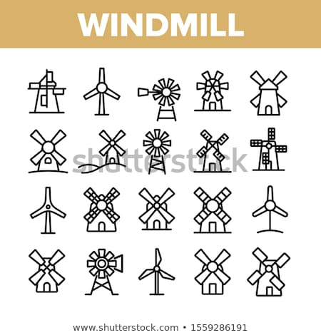 Traditional old windmill buildings on white set Stock photo © studioworkstock