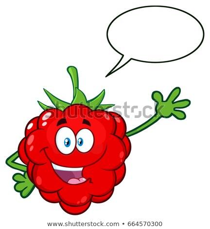 Ahududu meyve karikatür maskot karakter tebrik Stok fotoğraf © hittoon
