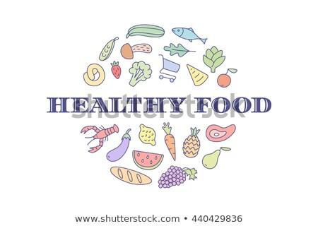 Logo projektu rynku napis zdrowa żywność spożywczy Zdjęcia stock © FoxysGraphic