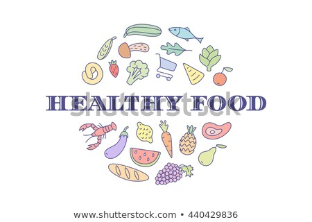 Logo project markt opschrift gezonde voeding kruidenier Stockfoto © FoxysGraphic