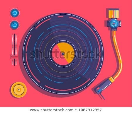 レトロな レコードプレーヤー 蓄音機 開く ビニール コミック ストックフォト © rogistok
