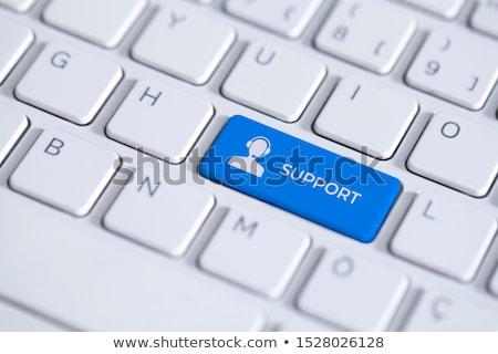 keyboard with blue keypad   help and support stock photo © tashatuvango