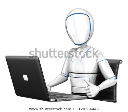 robô · trabalhando · laptop · robótico · mão · código · binário - foto stock © texelart