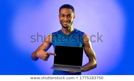 Fiatal afroamerikai férfi fitnessz edző online vektor Stock fotó © vectorikart
