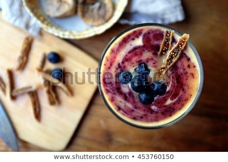 Domowej roboty jogurt jagody okulary organiczny szkła Zdjęcia stock © mpessaris