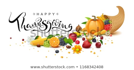 happy thanksgiving day handwritten calligraphy text greeting card cornucopia harvest stock photo © orensila