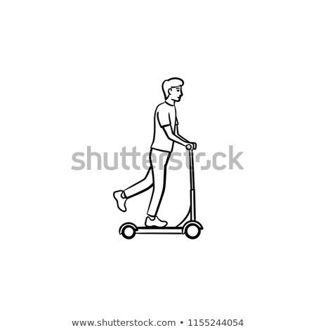 homem · equitação · chutá · linha · ícone - foto stock © rastudio