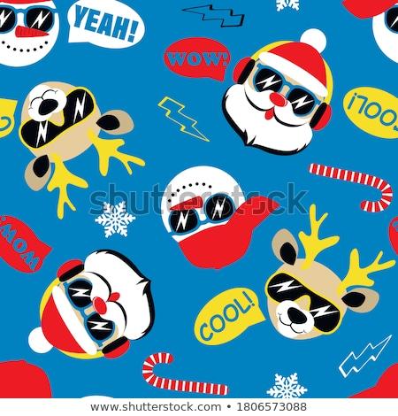 ストックフォト: 幸せ · サンタクロース · 鹿 · 雪だるま · サンタクロース · 冬