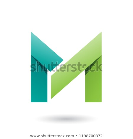 Dark and Light Green Folded Paper Letter M Vector Illustration Stock photo © cidepix