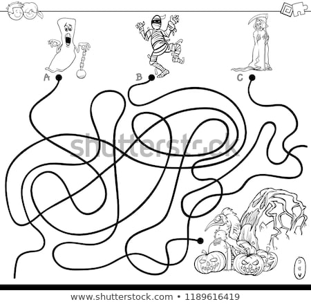 maze with spooky Halloween characters color book Stock photo © izakowski