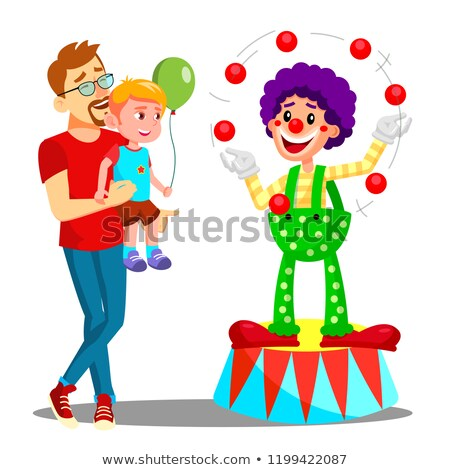 father and son in amusement park vector clown isolated illustration stock photo © pikepicture