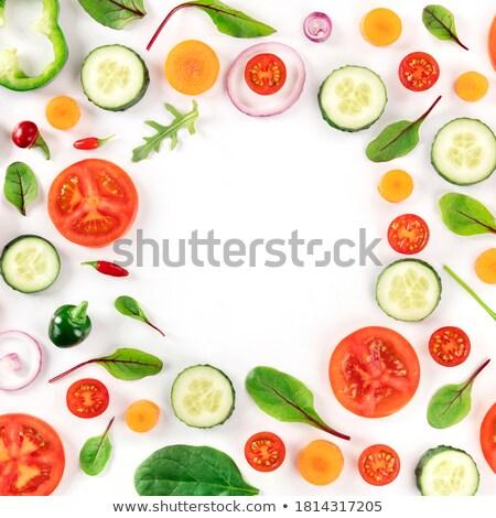 fresh vegetables background concept design template to menu veg stock photo © popaukropa