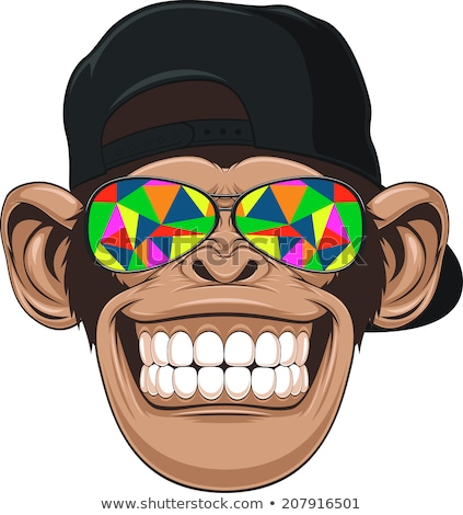 Cartoon улыбаясь шимпанзе счастливым Сток-фото © cthoman