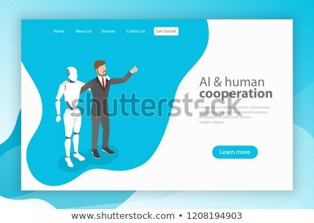 Stock fotó: Izometrikus · vektor · leszállás · sablon · emberi · együttműködés