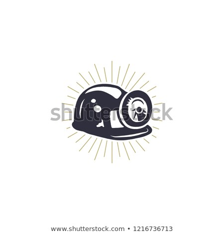 Retro Mining Helmet Icon with Built-in Light & Metal Brackets. Silhouette miner symbol. Stylish mine Stock photo © JeksonGraphics