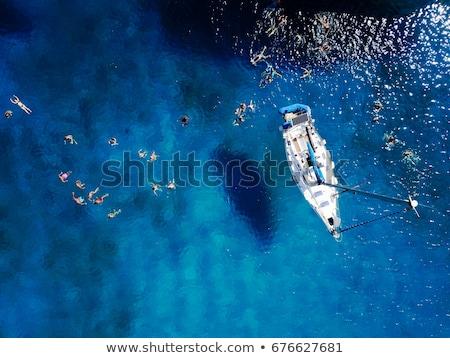 beyaz · tekneler · yelkencilik · turkuaz · deniz · güzellik - stok fotoğraf © mikko
