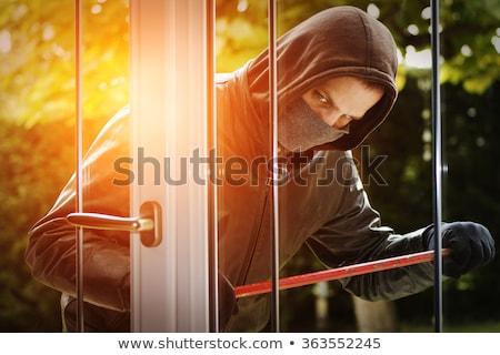 Сток-фото: вора · домой · стекла · двери · человека · безопасности